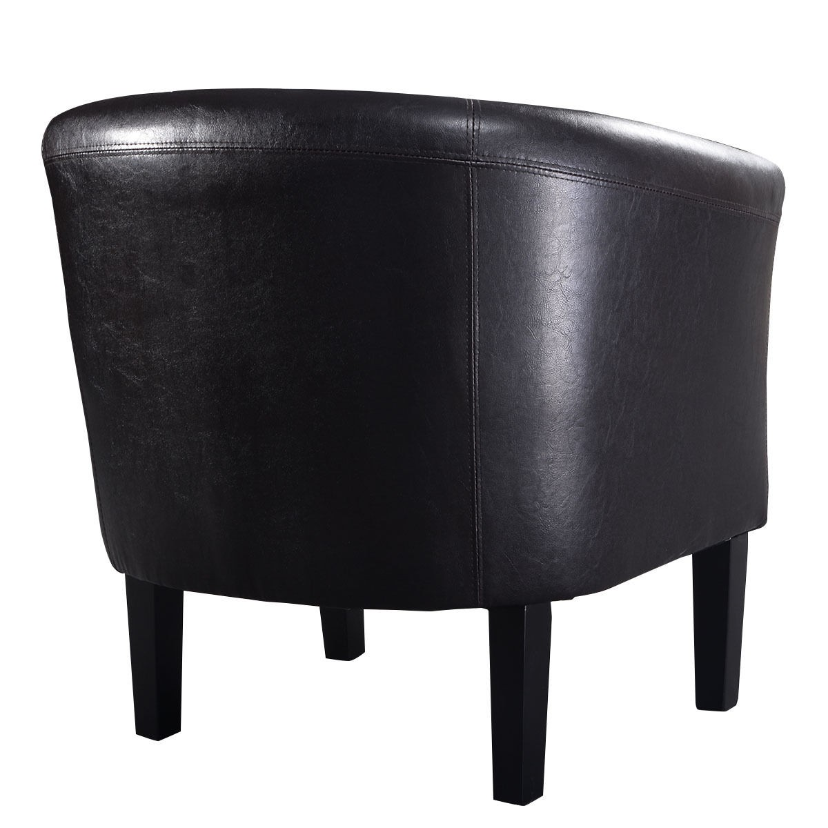 Modern PU Leather Tub Barrel Club Arm Chair Single Sofa Seat W Cushion