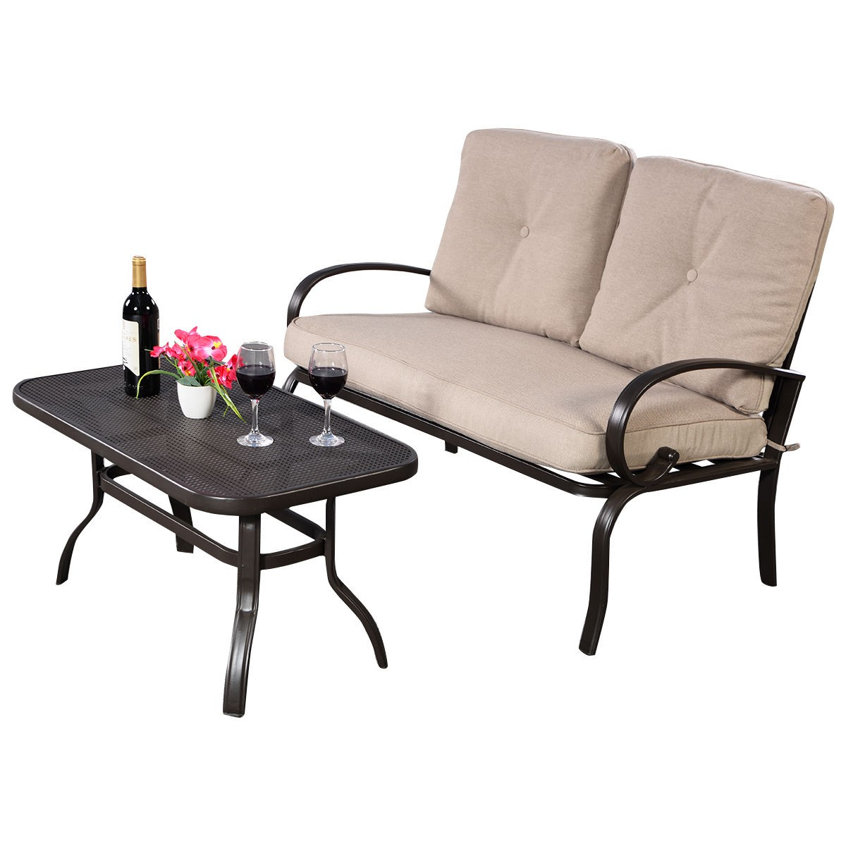 2 pcs patio outdoor loveseat coffee table set furniture bench with cushion ebay Loveseat cushions for outdoor furniture