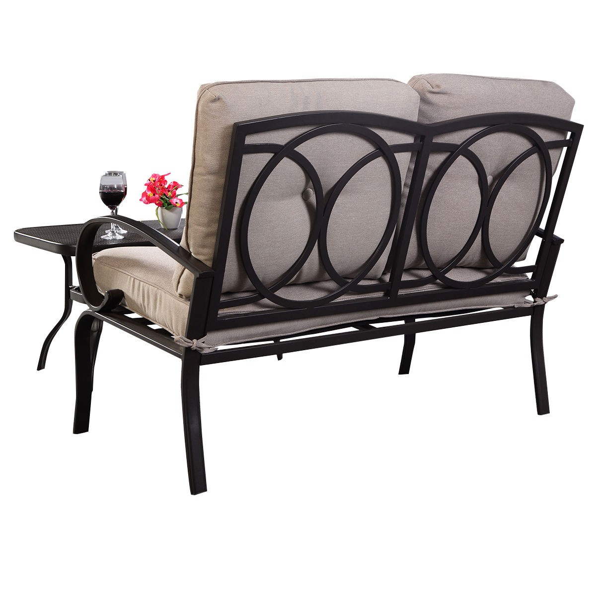 2 Pcs Patio Outdoor Loveseat Coffee Table Set Furniture Bench With Cushion Ebay