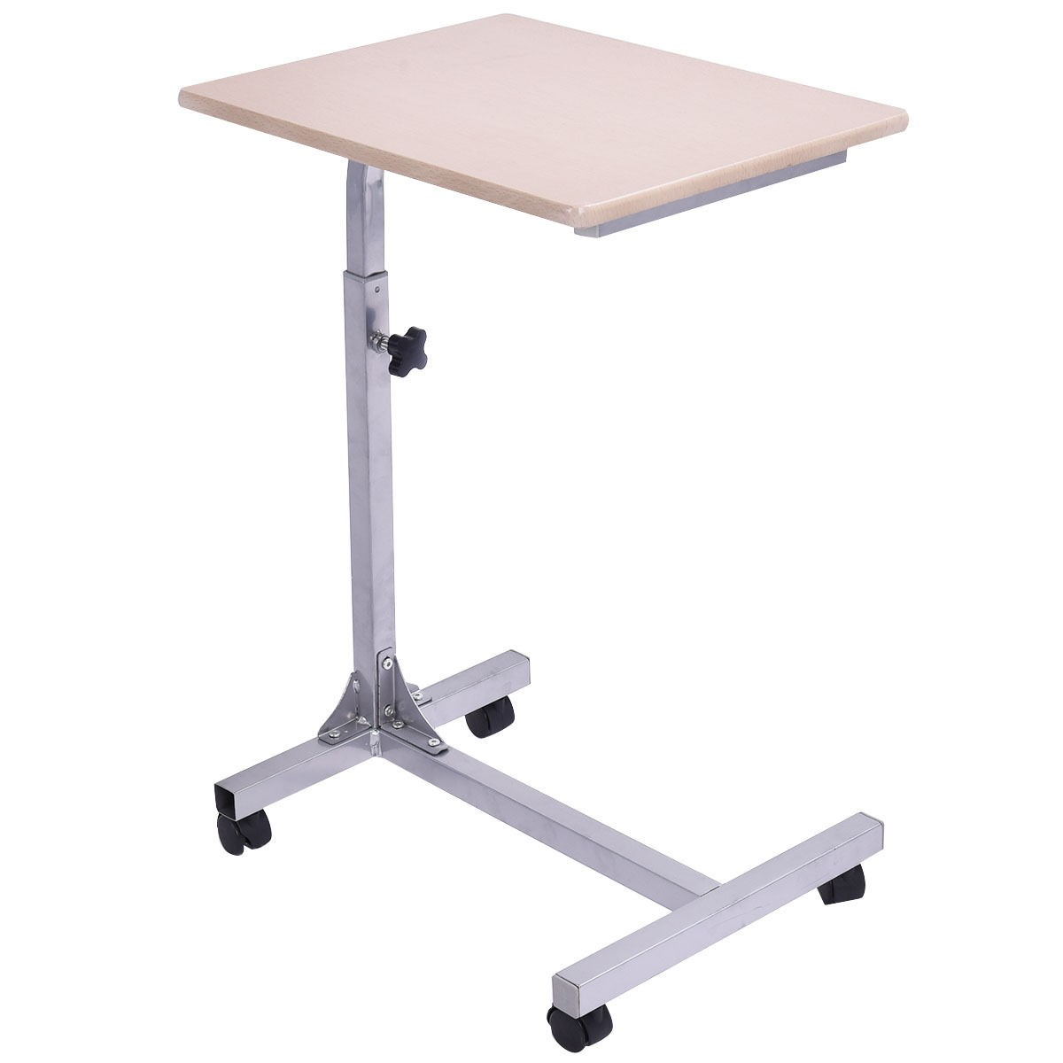 Adjustable wooden laptop table stand work study rolling