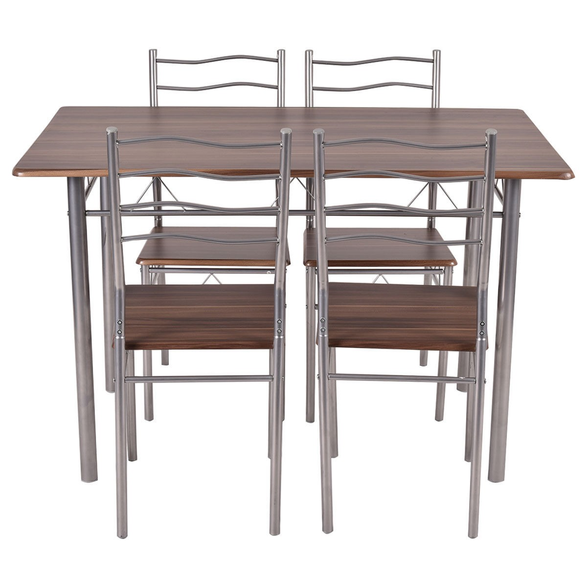 set 5 piece dining wood metal table and 4 chairs kitchen modern furniture ebay. Black Bedroom Furniture Sets. Home Design Ideas