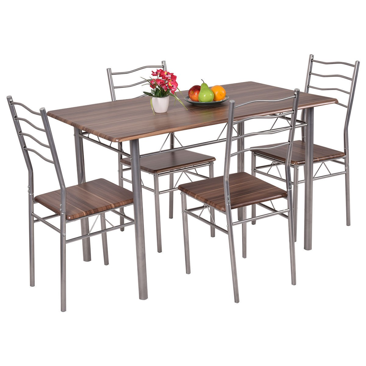 5 piece dining set wood metal table and 4 chairs kitchen for Kitchen table and chairs set
