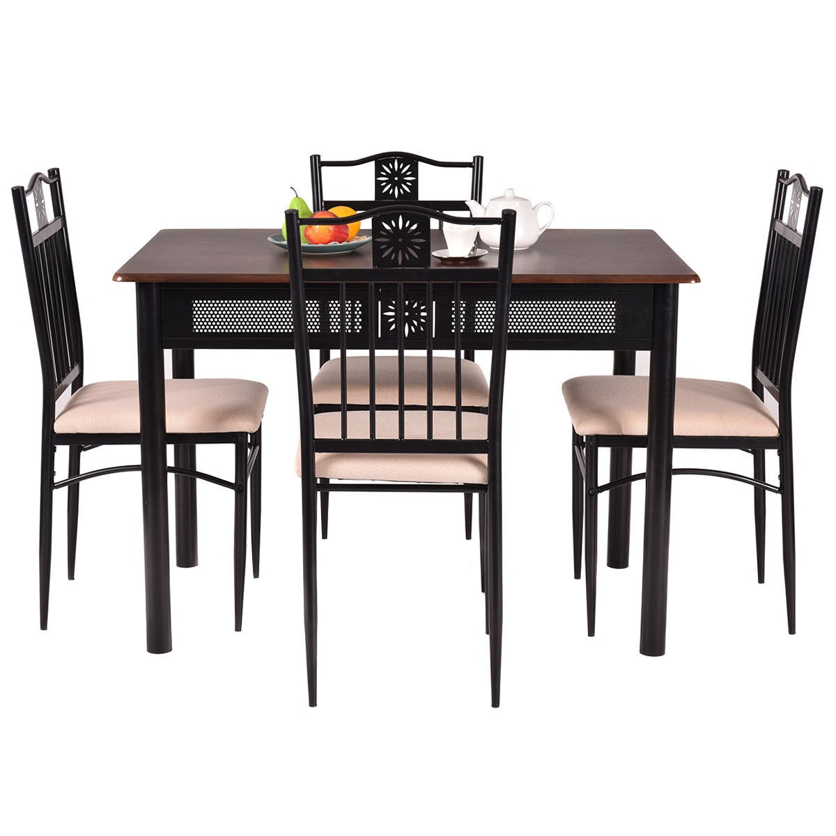 Table And Chair Dining Sets: 5 Piece Dining Set Wood Metal Table And 4 Chairs Kitchen