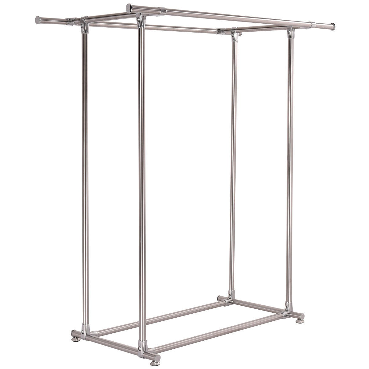 heavy duty stainless steel double rail garment rack clothes drying hanger new ebay. Black Bedroom Furniture Sets. Home Design Ideas