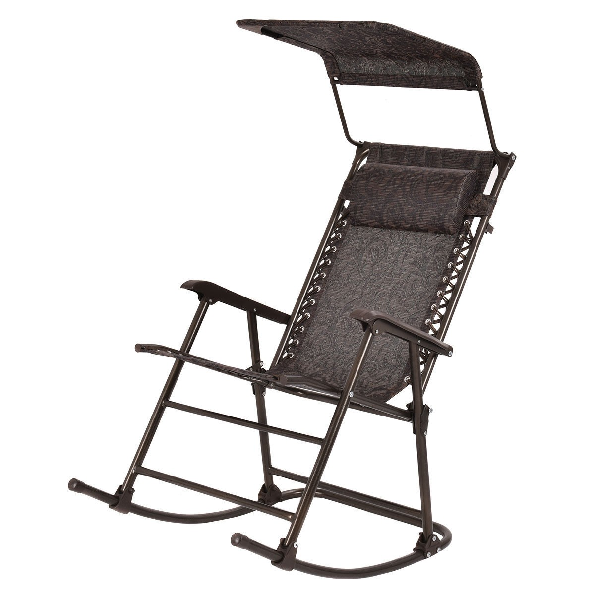 Outdoor Home Daddy Folding Rocking Chair Rocker Patio Furniture Canopy Headre