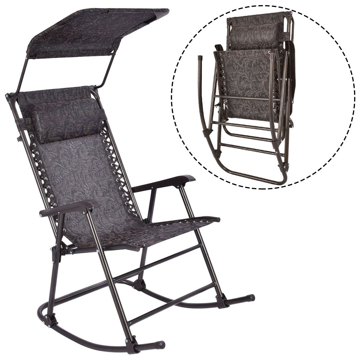 outdoor home daddy folding rocking chair rocker patio furniture canopy headrest ebay. Black Bedroom Furniture Sets. Home Design Ideas
