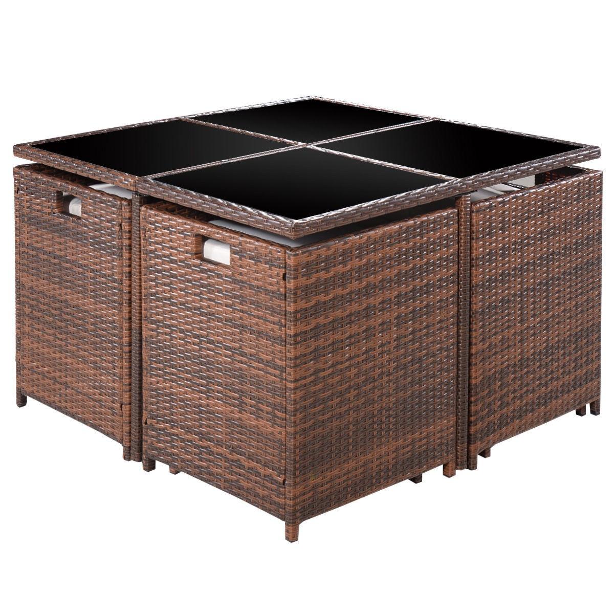 Brown 9 Pc Mix Patio Garden Rattan Wicker Sofa Set Furniture Cushioned W Ottoman