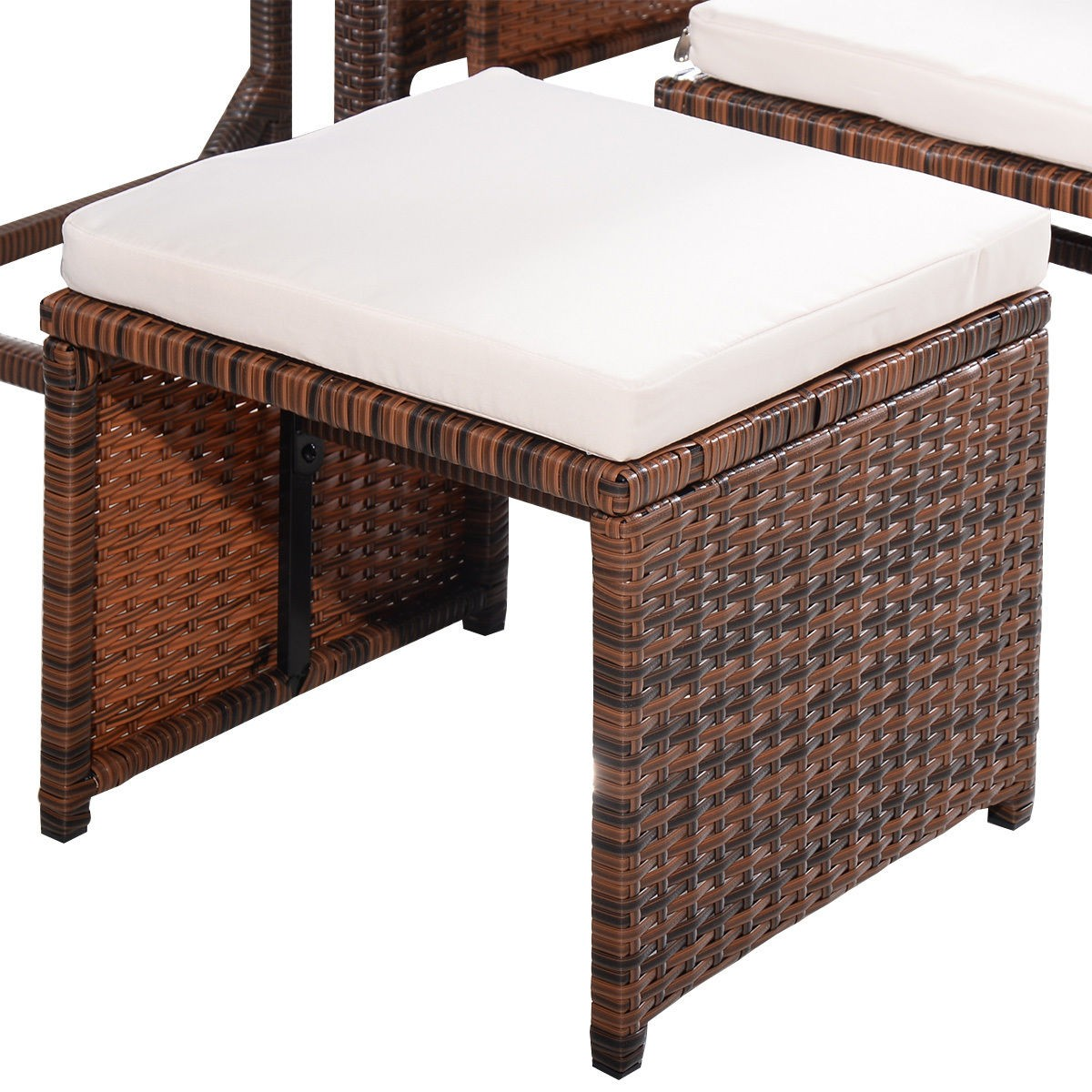 brown 9 pc mix patio garden rattan wicker sofa set furniture cushioned w ottoman. Black Bedroom Furniture Sets. Home Design Ideas