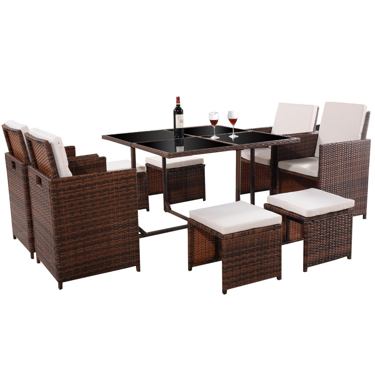 brown 9 pc mix patio garden rattan wicker sofa set furniture cushioned w ottoman. Black Bedroom Furniture Sets. Home Design Ideas