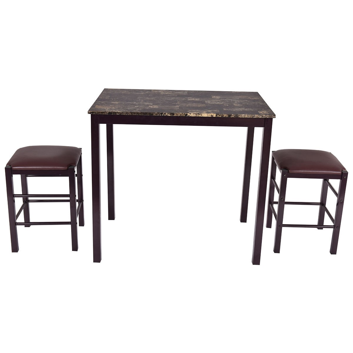 3 Pcs Dining Counter Height Set Faux Marble Table 2 Chairs