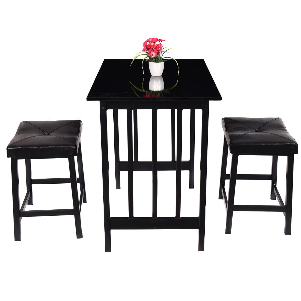 3pcs kitchen counter height dining set table and 2 chairs bar furniture us stock ebay. Black Bedroom Furniture Sets. Home Design Ideas