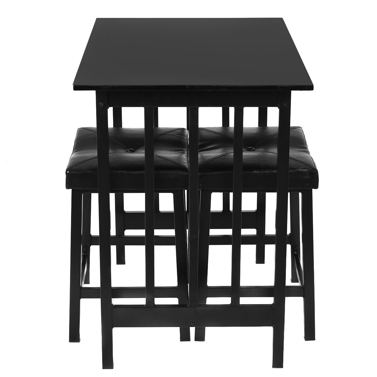 Kitchen 3pcs Modern Counter Height Dining Set Table And 2