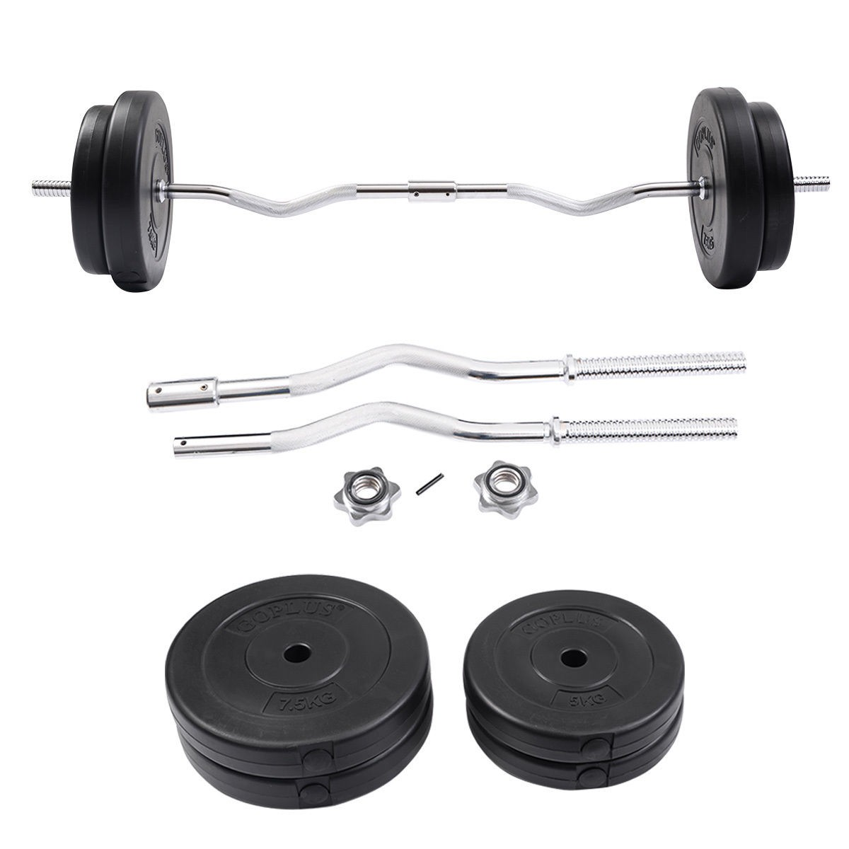 Exercise Barbell Dumbbell: 64 LB Barbell Dumbbell Weight Set Gym Lifting Exercise