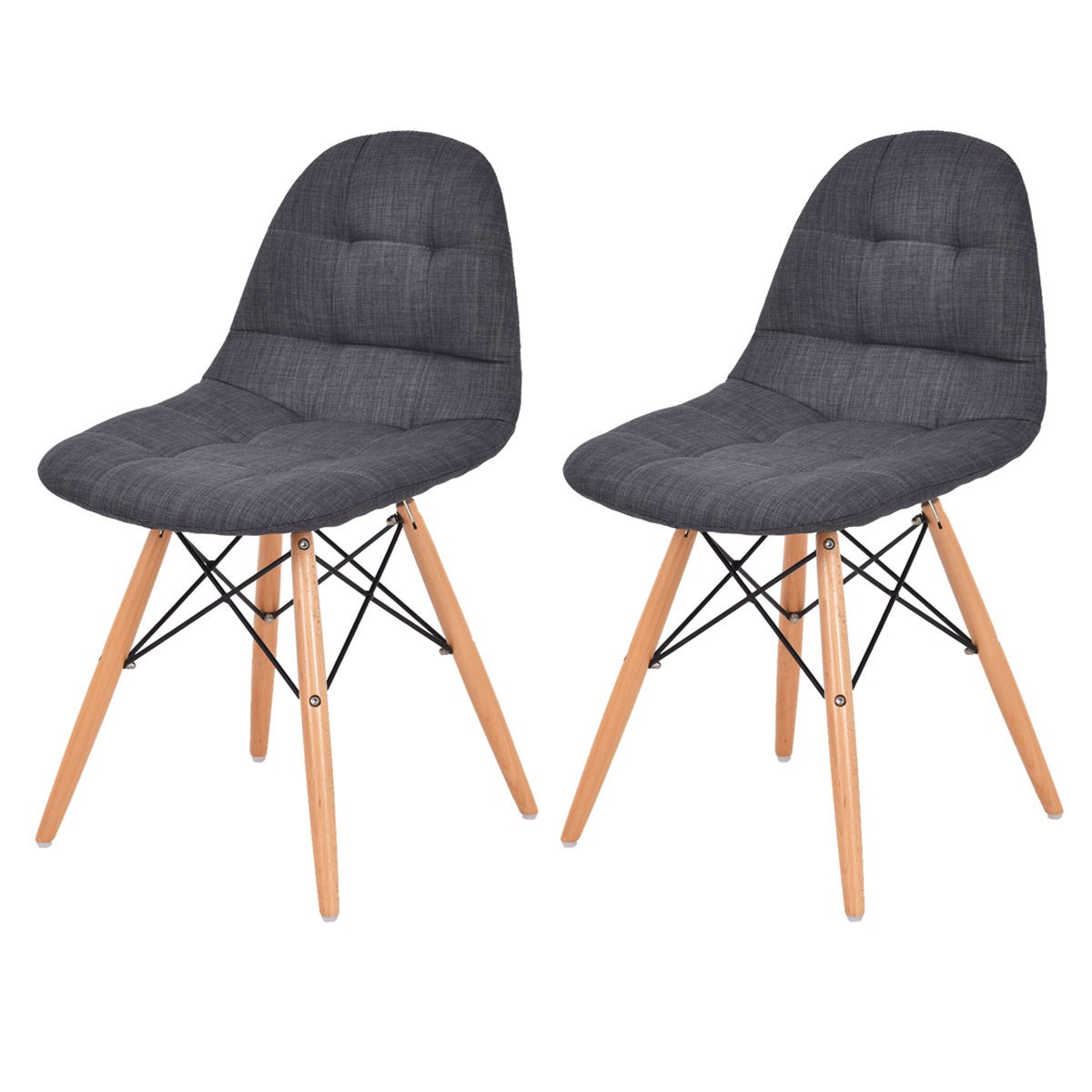 2PC Set Mid Century Modern Style Upholstered DSW Dining Side Chair Wood Leg Seat