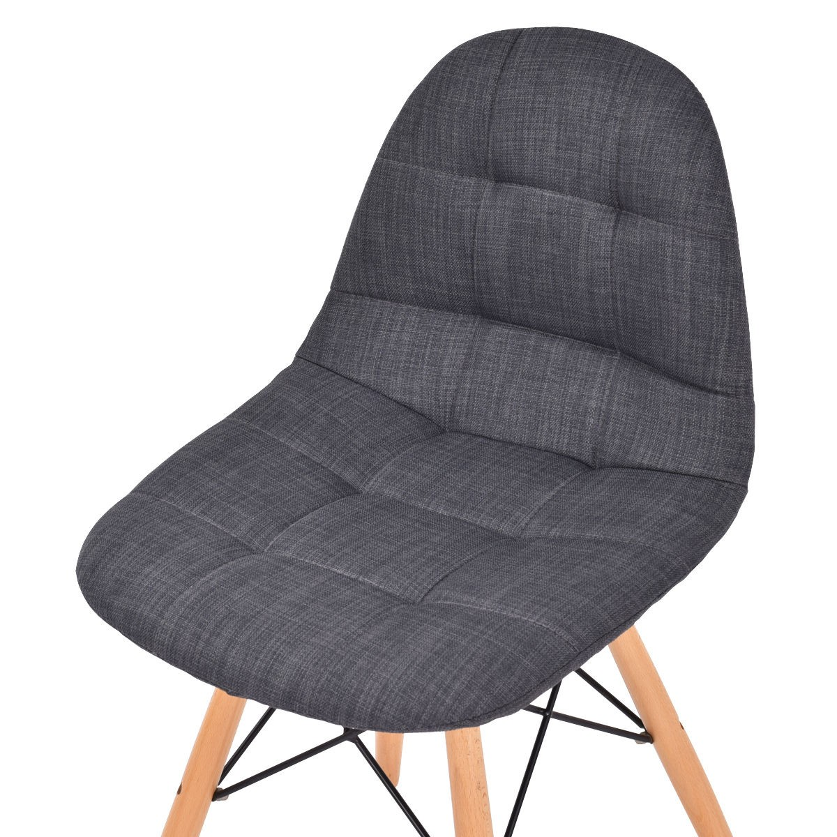 2PC Set Mid Century Modern Style Upholstered DSW Dining Side Chair Wood Leg S
