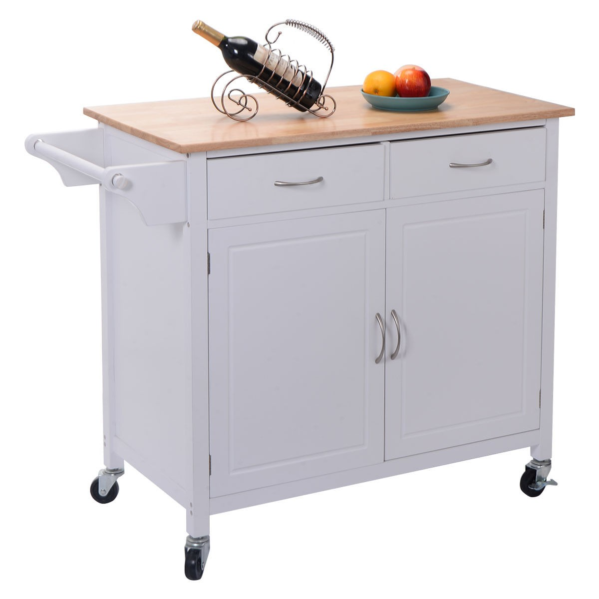 Us Portable Kitchen Rolling Cart Wood Island Serving Utility W Cabinet Drawer