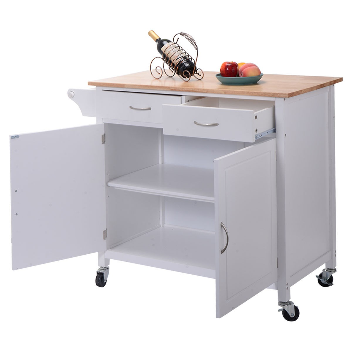 Kitchen Island Black Portable Kitchen Island With Drawers: US Portable Kitchen Rolling Cart Wood Island Serving