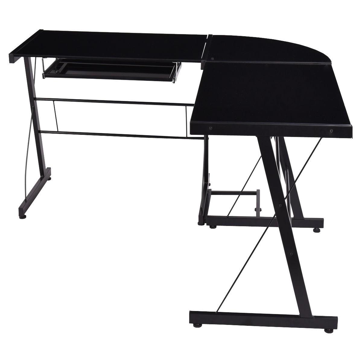 L Shaped Corner Desk Computer Workstation Home Office: L-Shape Computer Desk PC Laptop Table Glass Top