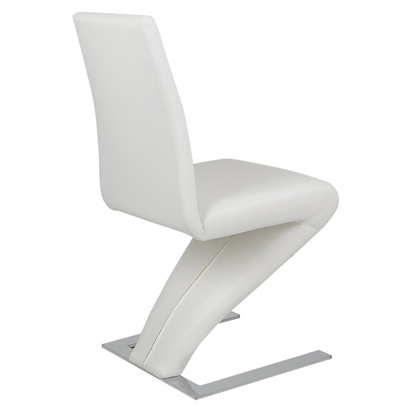 High back pu leather dining chair z shaped zigzag home for Z shaped dining chair