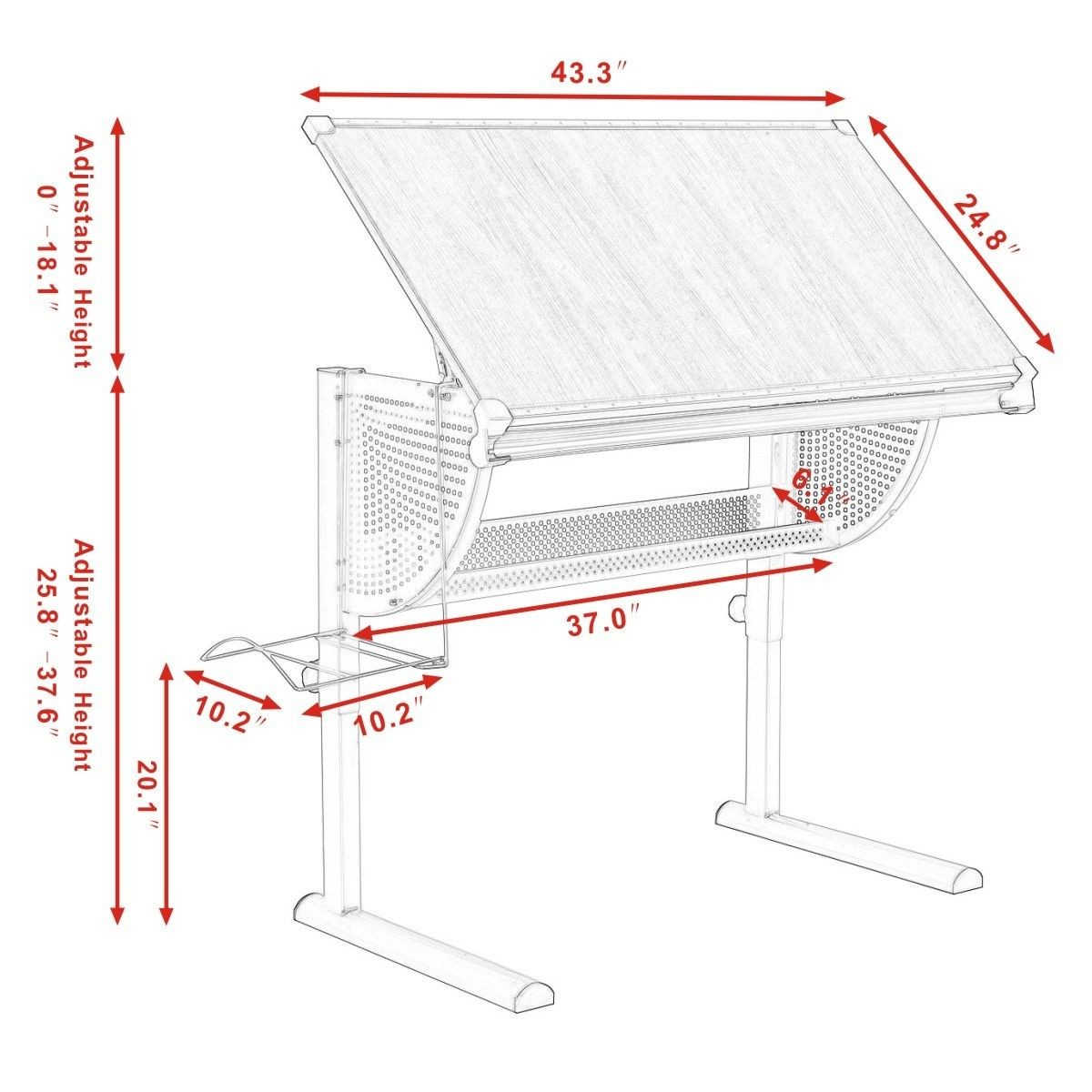 Adjustable drafting table drawing desk art craft hobby for Table th width not working