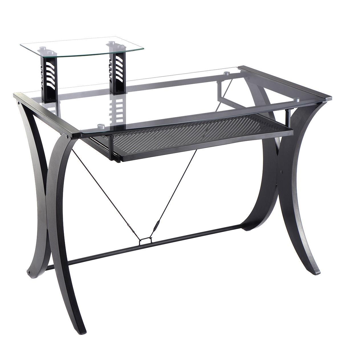 computer desk pc laptop table glass top w printer shelf. Black Bedroom Furniture Sets. Home Design Ideas