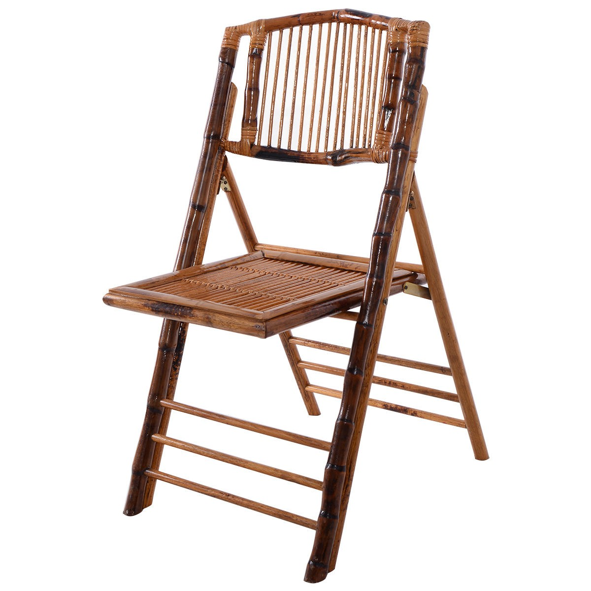 Set of 2 Bamboo Folding Chairs Patio Garden Wedding Party Outdoor Furniture