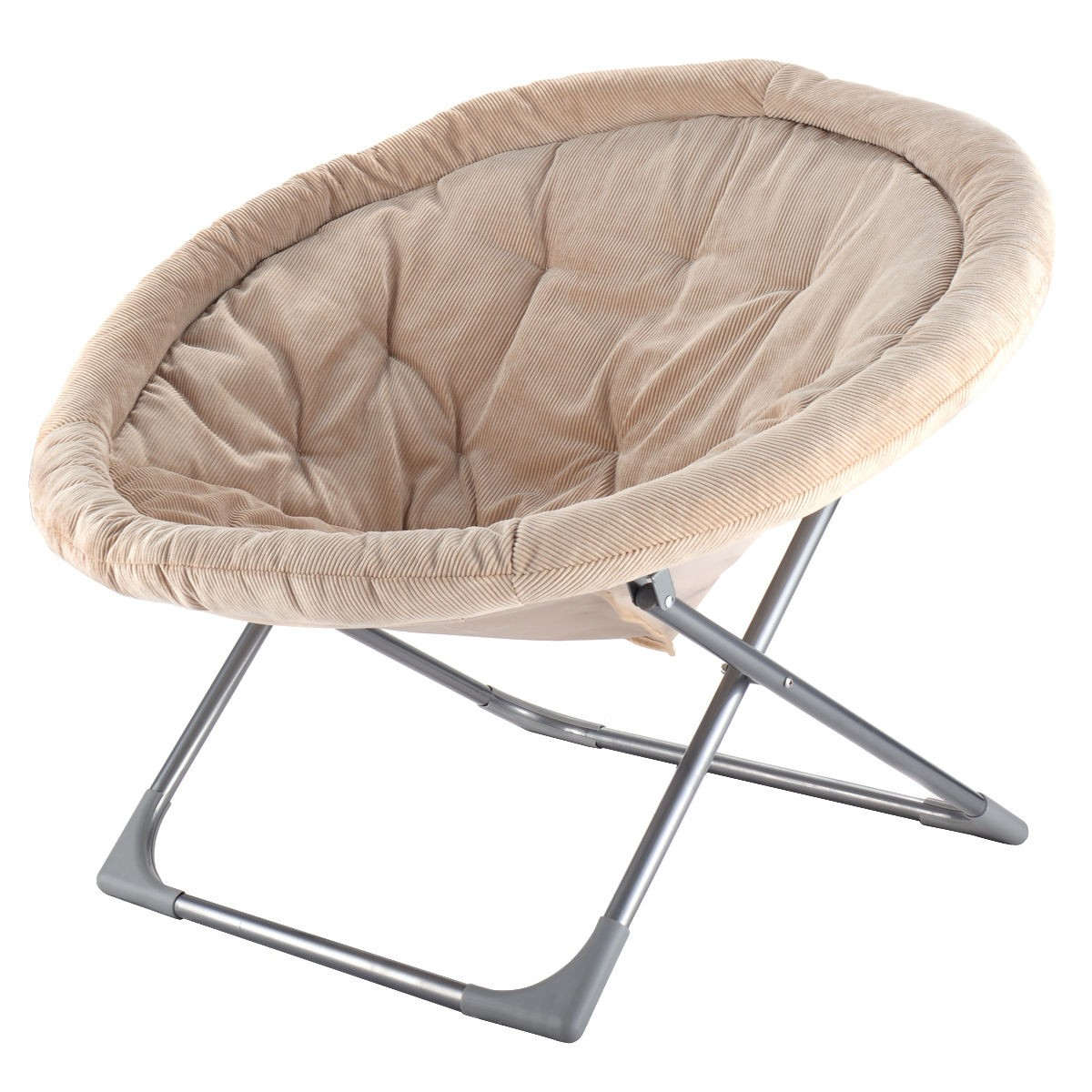 oversized large folding saucer moon chair corduroy round seat living room. Black Bedroom Furniture Sets. Home Design Ideas