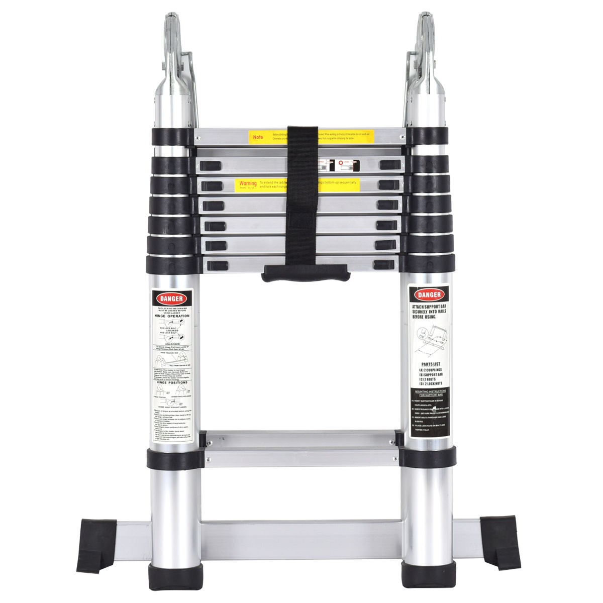 Midland Extendable Aluminum Ladders : Ft aluminum en ladder telescoping telescopic