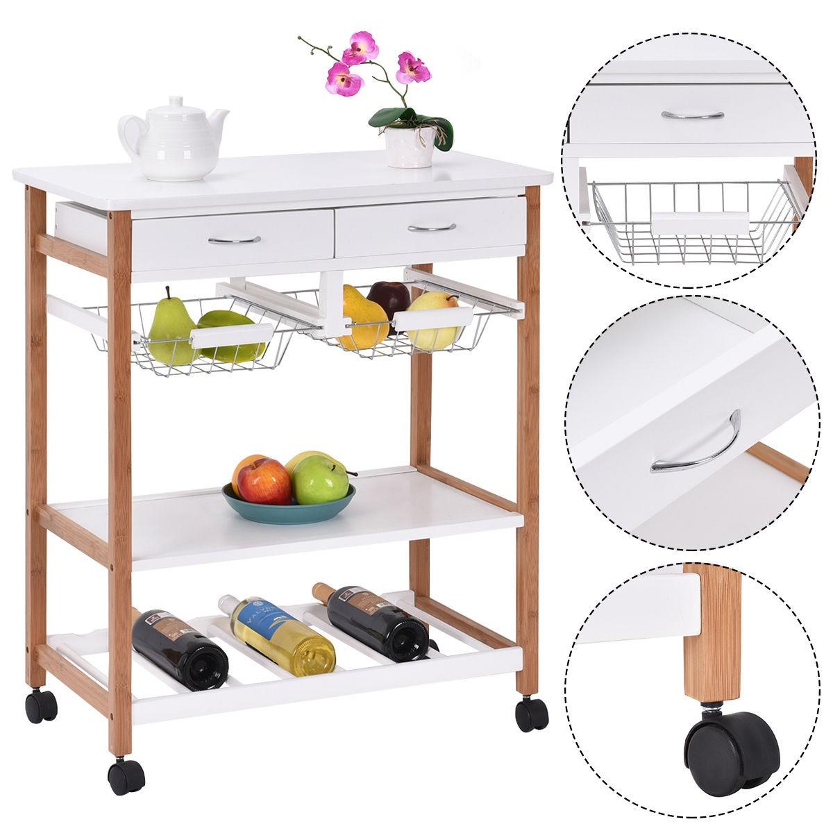 Portable Kitchen Rolling Cart Island Storage Wine Rack: Kitchen Rolling Wood Trolley Cart Island Storage Basket