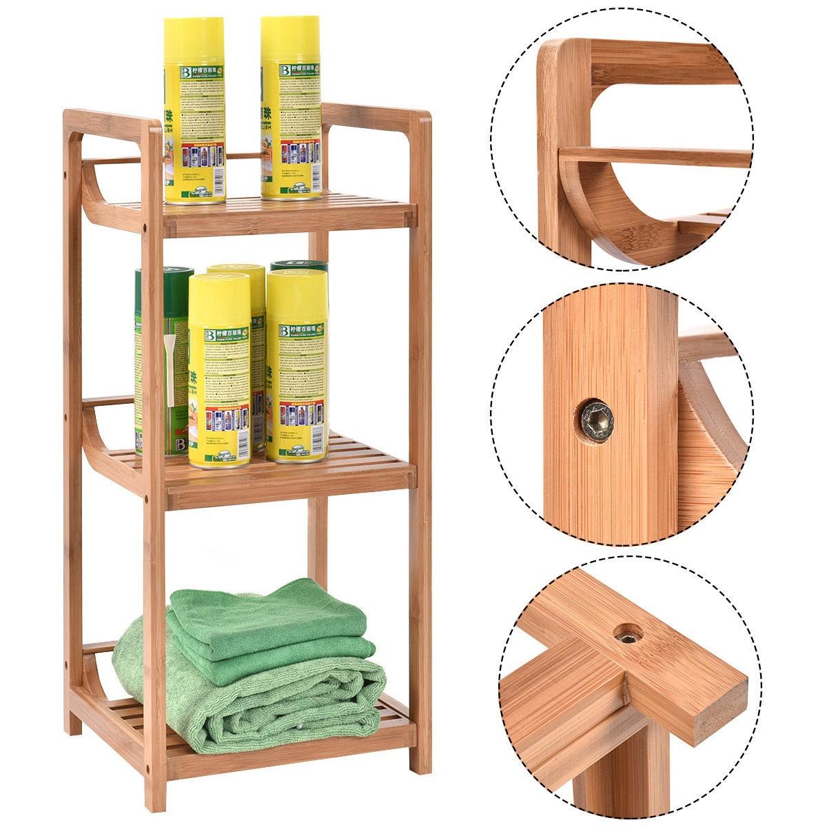 us 3tier bathroom shelf bamboo bath storage space saver organizer shelves rack