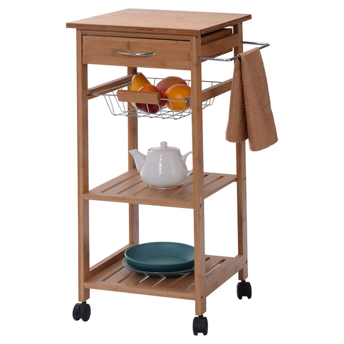 Mobility Bamboo Kitchen Trolley Cart Shelf Island Servce Countertop Basket Carts Ebay