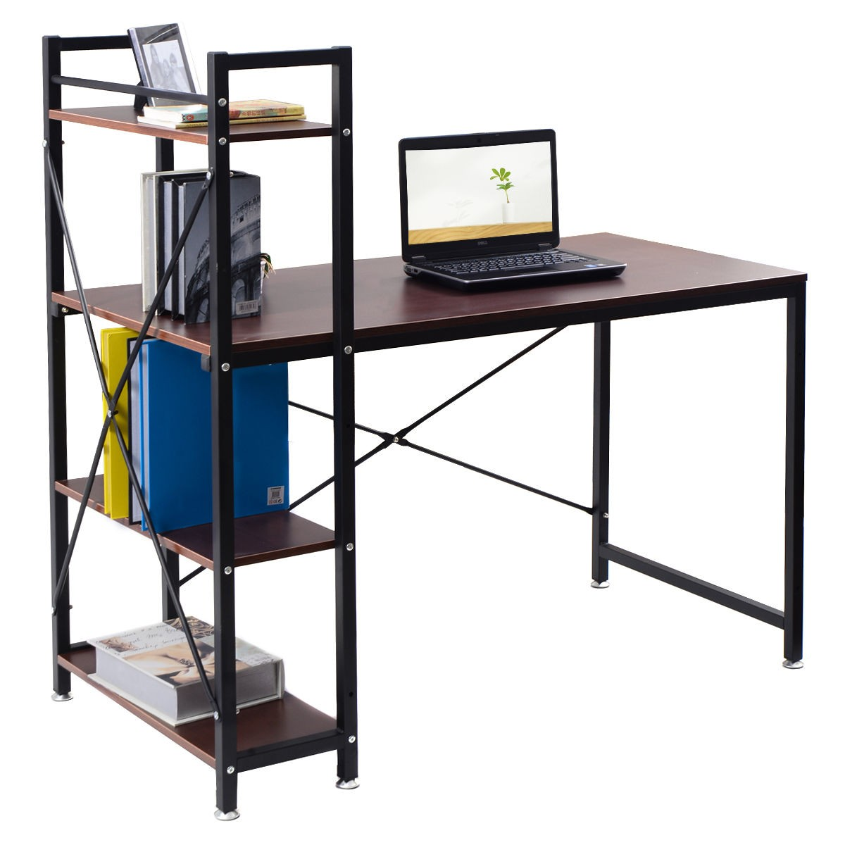us 4 tier shelves modern computer desk pc workstation. Black Bedroom Furniture Sets. Home Design Ideas