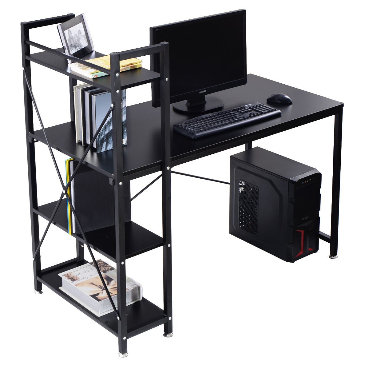 black wood computer desk w 4 tier shelves pc workstation. Black Bedroom Furniture Sets. Home Design Ideas