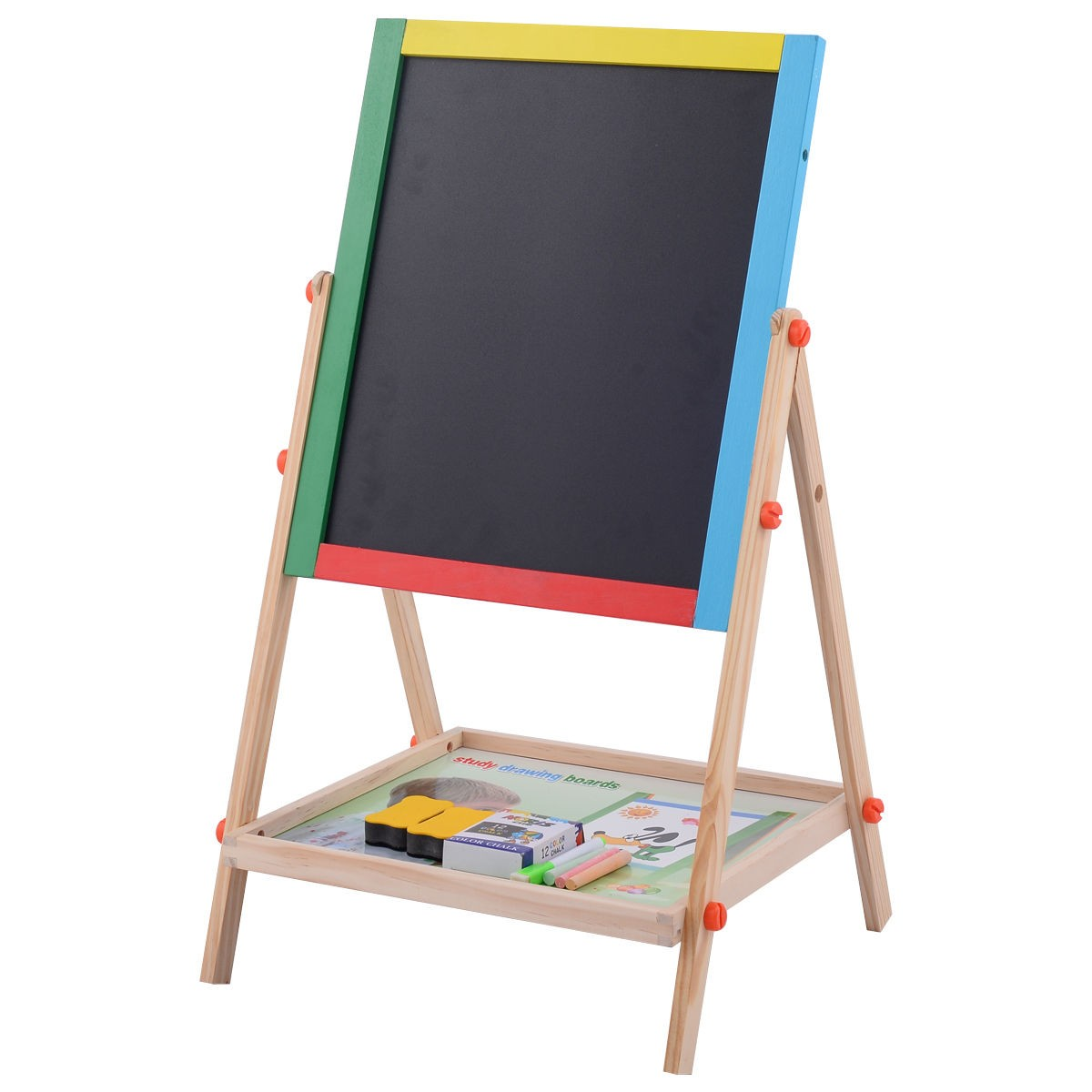 Kids Child Adjustable 2 In 1 Wooden Easel Chalk Drawing