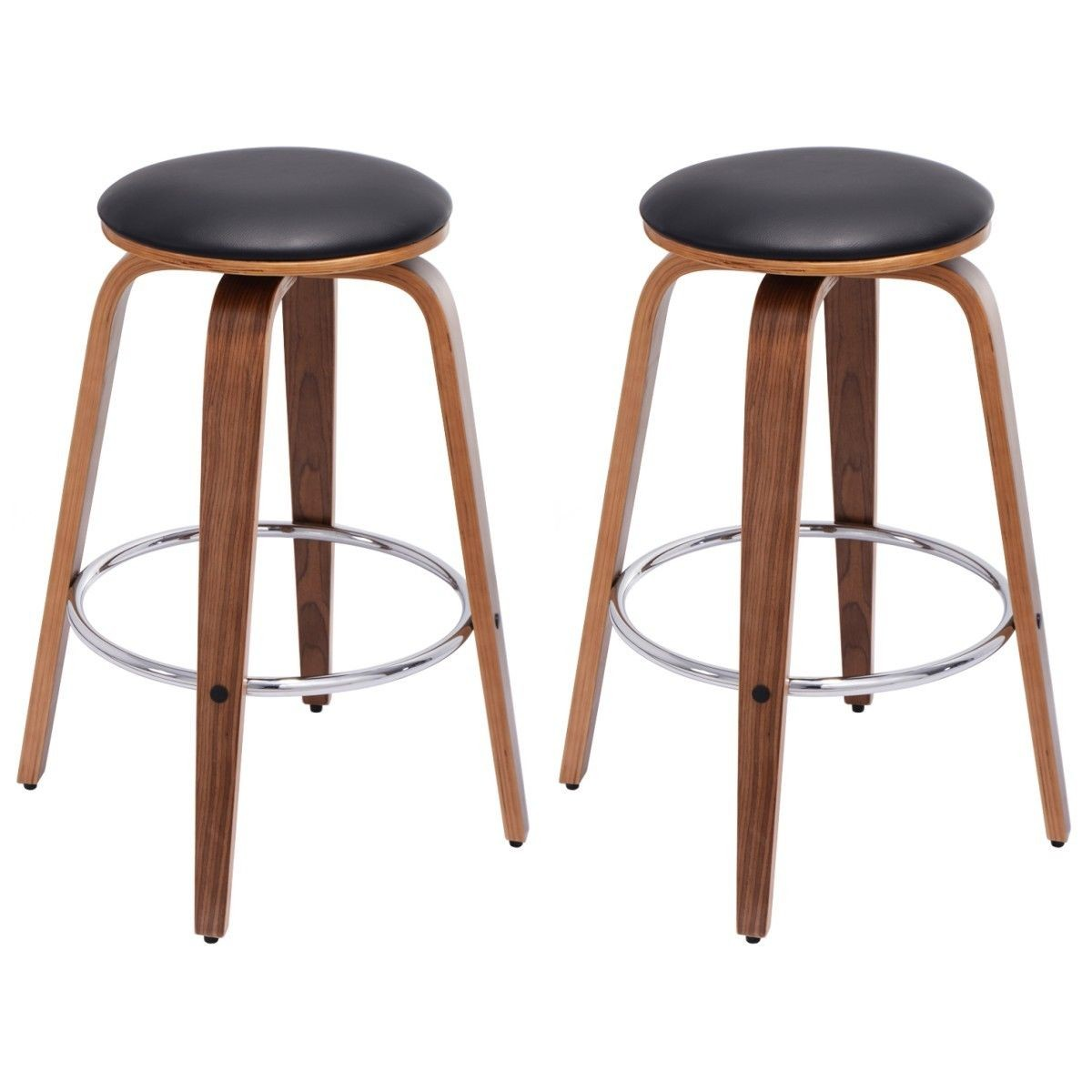 Set Of 2 Swivel Bentwood Bar Stool Pu Leather Modern