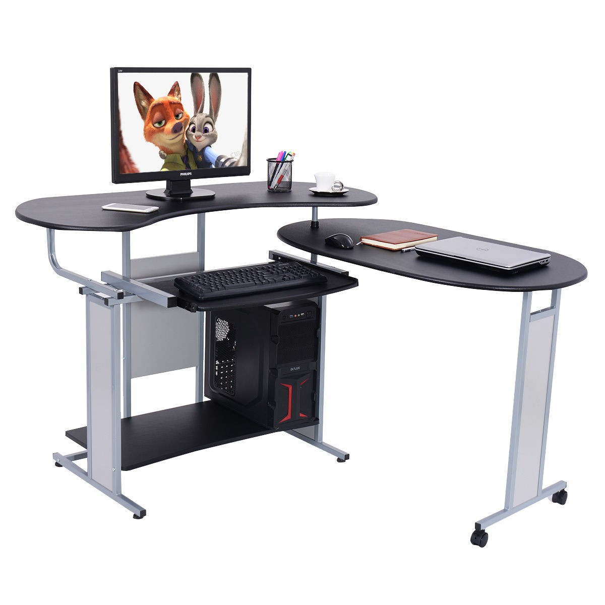 Lh Expandable L Shaped Computer Desk Pc Table Corner