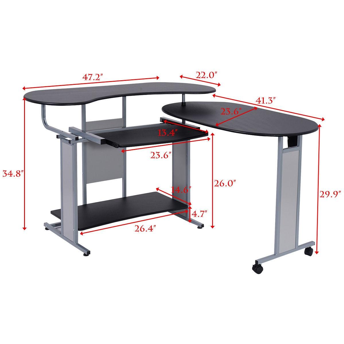 L Shaped Corner Desk Computer Workstation Home Office: LH Expandable L-Shaped Computer Desk PC Table Corner