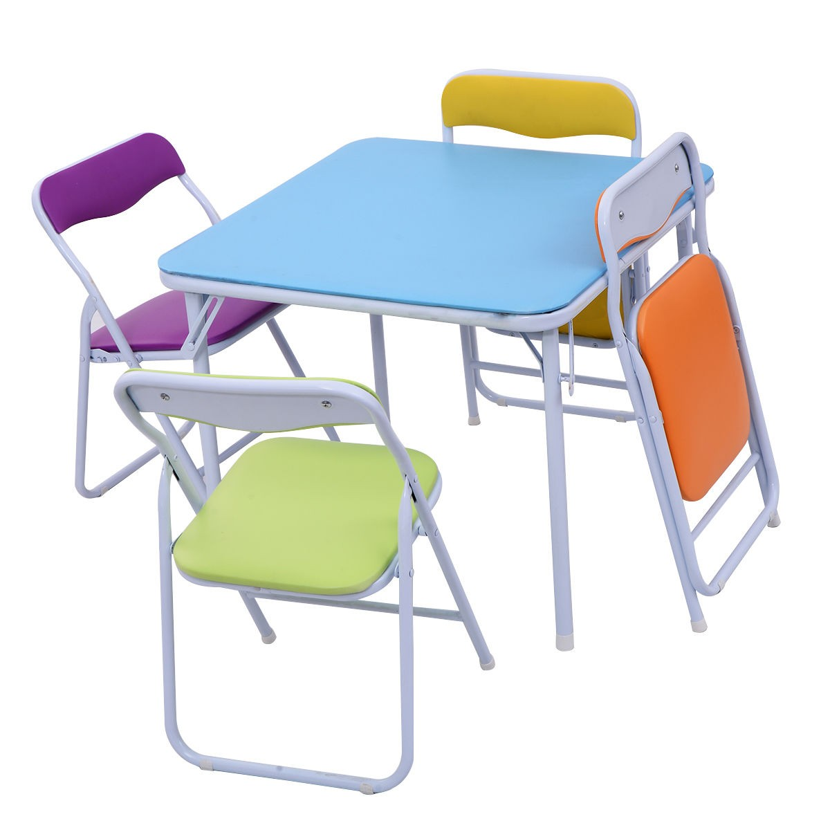 5 Piece Set Folding Table Chair Children Kids Colorful Play Room Furniture Se