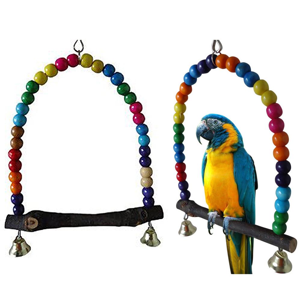 Pet Bird Toys : Pet cm wood bird parrot swing parakeet cockatiel