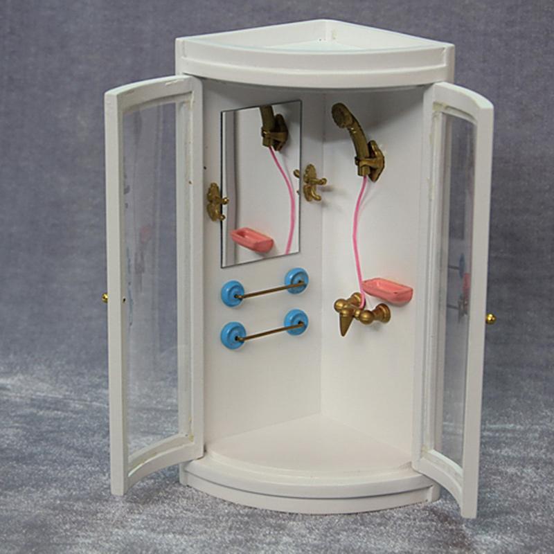 1 12 adorabile casa delle bambole mobili in miniatura bagno w doccia modello ebay - Bagno in miniatura ...
