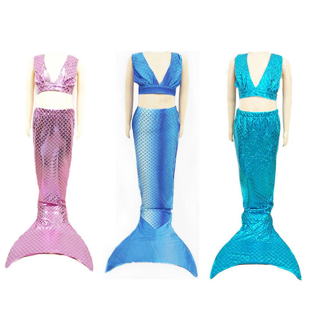 3pcs ragazza bambino pinna caudale costume da bagno sirena bikini ebay - Costume da bagno inglese ...