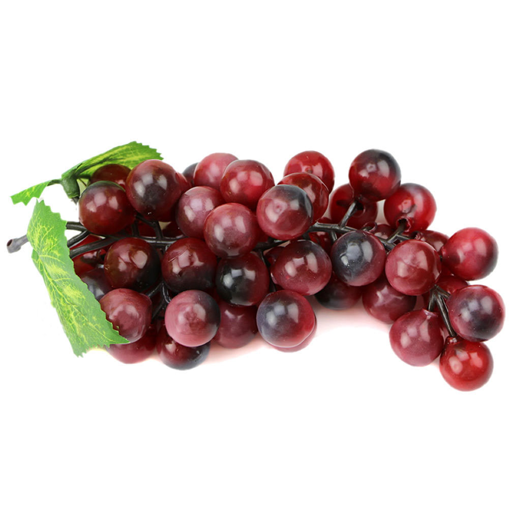 Bunch lifelike artificial grapes plastic fake fruit food for Artificial grape vines decoration