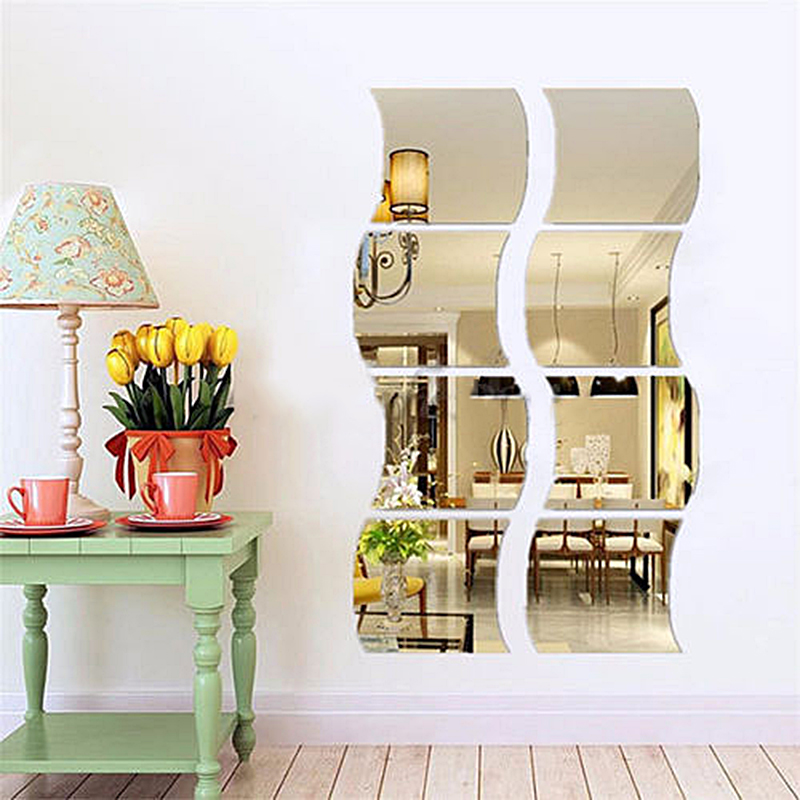 6pcs removable wave home acrylic wall mirror sticker art for Cn mural designs