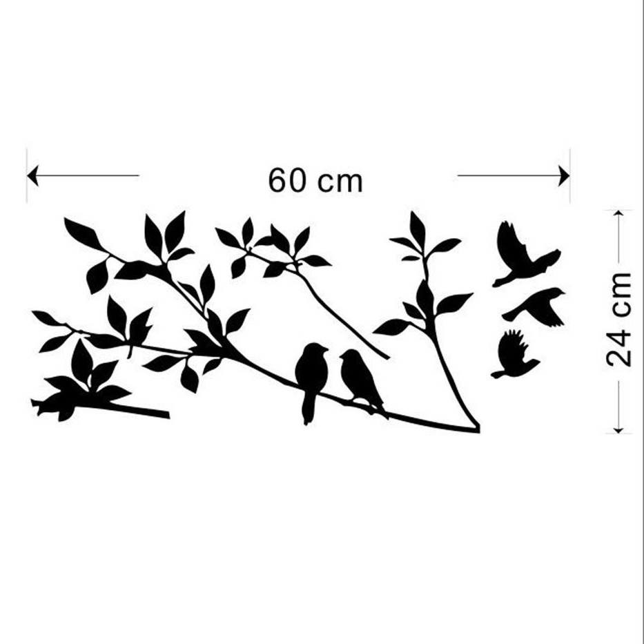 Birds flying black tree branches wall sticker vinyl art for Black tree mural