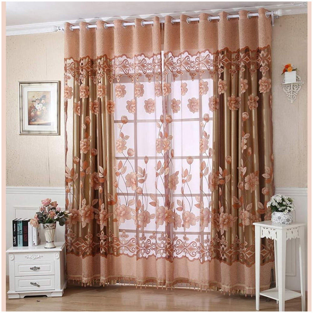 floral pattern window curtains door voile drape room. Black Bedroom Furniture Sets. Home Design Ideas