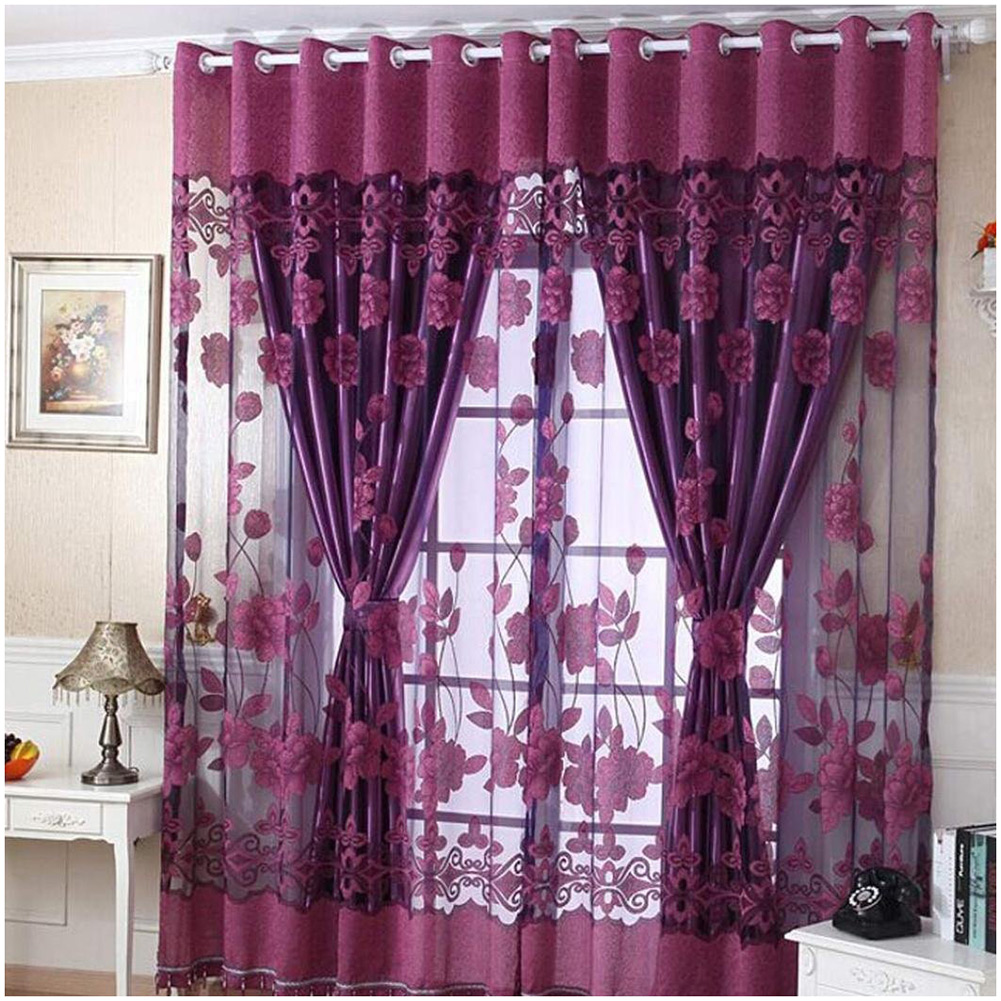Floral pattern window curtains door voile drape room for Flowery curtains design