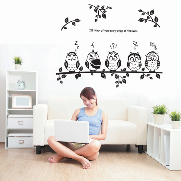 wandtattoo baum mit 5 eule wandaufkleber wandsticker. Black Bedroom Furniture Sets. Home Design Ideas