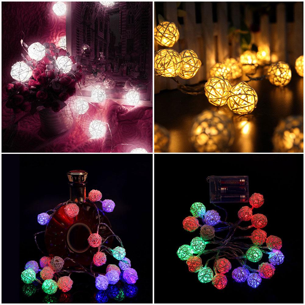Room 20 White Rattan Ball LED Light String Fairy Lamp Wedding Party Xmas Decor eBay