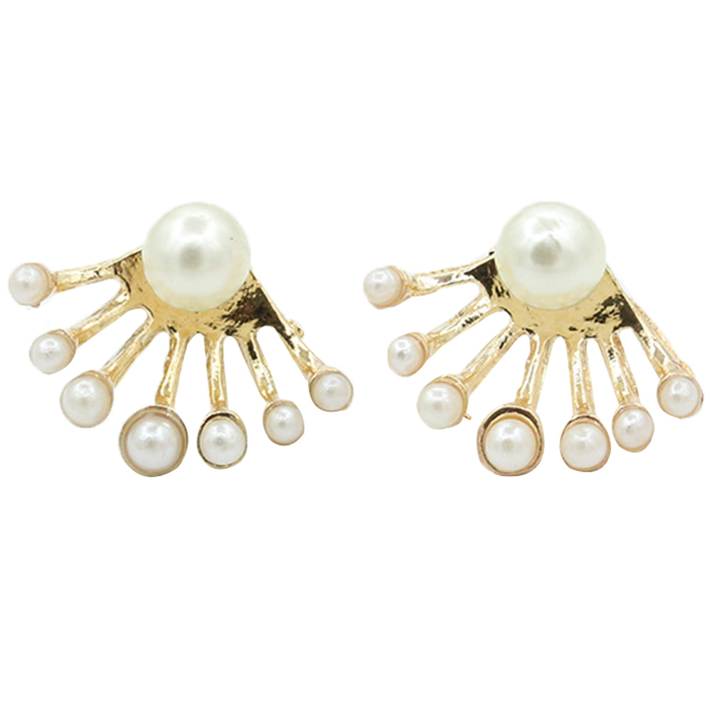2 pairs womens lovely earrings pearl ear stud