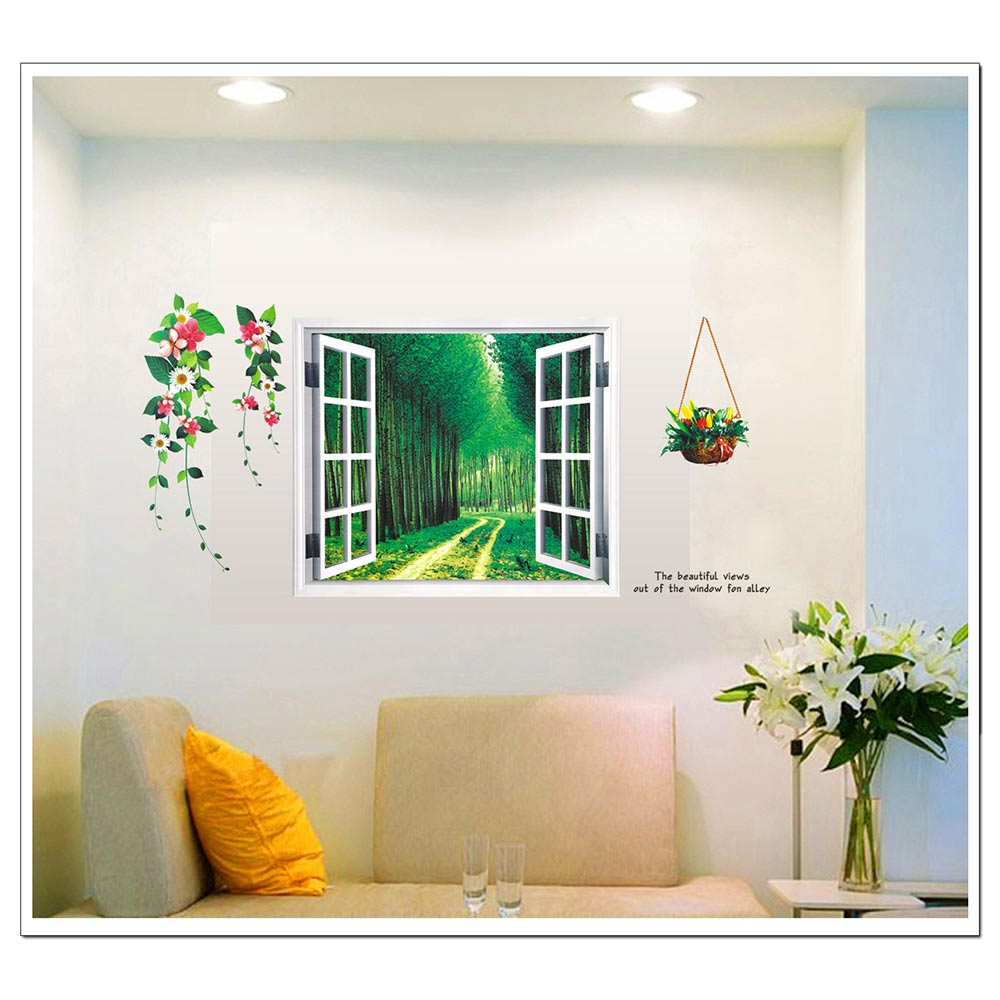 New 3d Green Forest Window View Removable Pvc Wall Sticker